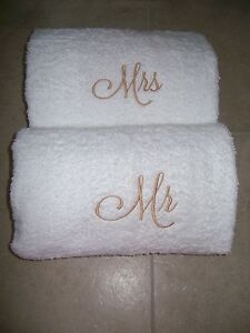 Image Is Loading Mr And Mrs Embroidered Bath Towels Wedding Gift