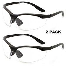 2 Pair Lot Bifocal Safety Reading Glasses Clear Lens Reader Ansi Z871 Men Women