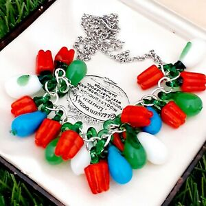 Vintage-Style-Fresh-amp-Bright-Glass-Vegetable-Necklace-Red-Peppers-amp-Aubergine