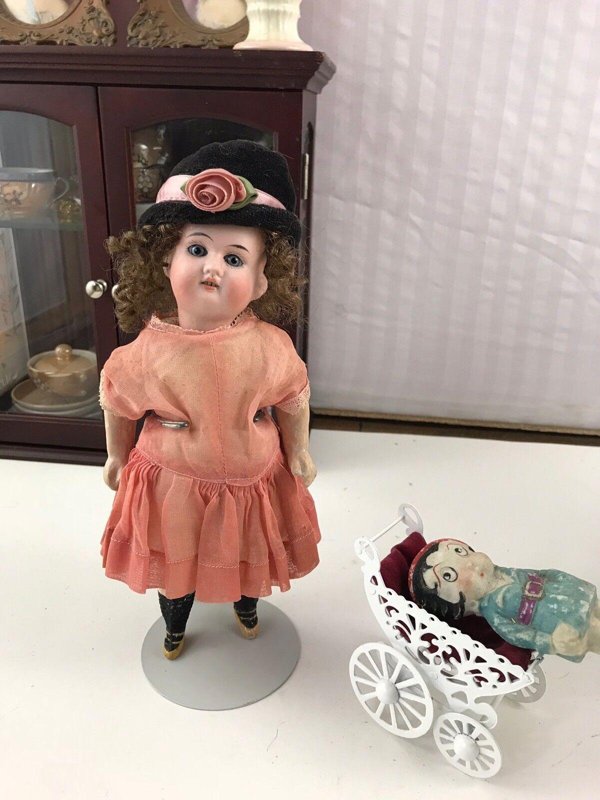 Raro Antiguo Gebrüder Knoch Todo Original cabeza de Biscuit muñeca de bolsillo 8   con Etiqueta