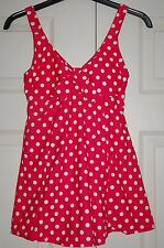 New Sz 8 Resort Red Pink Spot Dot Swimming costume suit with flared short skirt