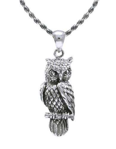 New 0.925 Sterling Silver Owl Bird Charm Animal Pendant Necklace