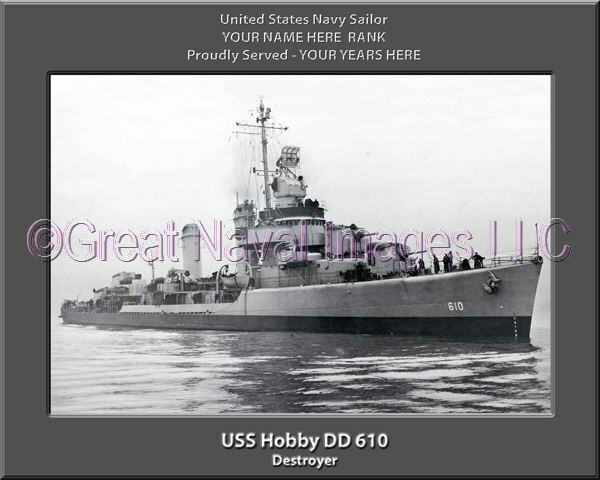 USS Hobby DD 610 Personalized Canvas Ship Photo Print Navy Veteran Gift
