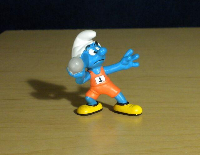 Smurfs 20742 Shotputter Smurf Olympic Vintage Figure Toy PVC Figurine Schleich
