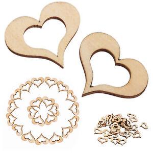 100pc Wooden Hollow Heart Embellishment for DIY Scrapbooking Wedding Favors