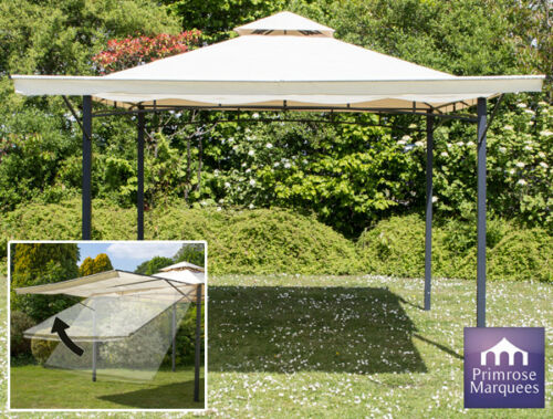 Ivory Metal Gazebo 3m x 3m Clevedon with Awning /& Side Walls Party Tent Marquee