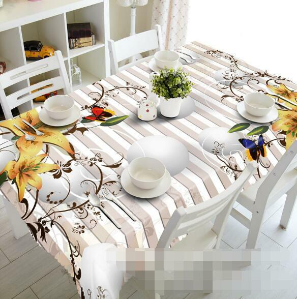 3D Flowers Stripe Tablecloth Table Cover Cloth Birthday Party Event AJ WALLPAPER