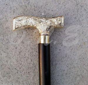 Vintage-Silver-Brass-Handle-Walking-Cane-Wooden-Walking-Stick-Victorian-Handle
