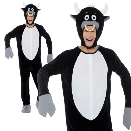 Bull Costume Bodysuit /& Hood Adult Mens World Book Day Week Fancy Dress Outfit