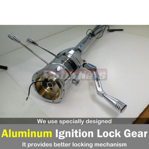 """Chrome Stainless 30/"""" Automatic Tilt Steering Column Shift No-Ignition Key GM"""