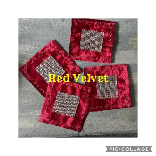 ❤️Stunning Black Velvet /& Silver Trim 6/' x 6/' Coasters❤️Set x 4 £3.00 Inc P/&p❤️