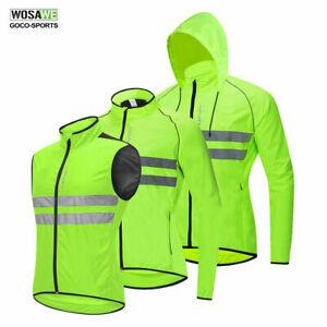 Men-039-s-Cycling-Jacket-Windproof-Reflective-Vest-Bicycle-MTB-Bike-Jerseys-Green
