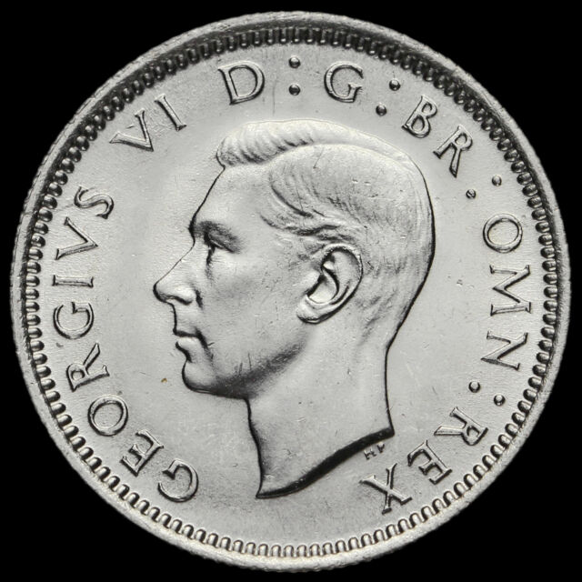 1945 George VI Silver Sixpence, A/UNC