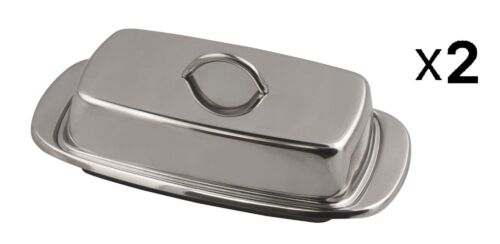 2-Pack Fox Run 6510 Classic Stainless Steel Butter Dish Kitchen Dining
