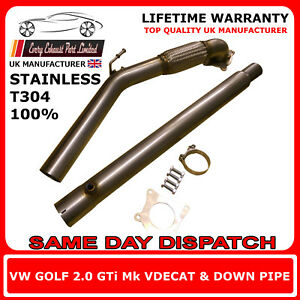VW-Golf-Mk5-MK6-GTI-FSI-Stainless-Steel-T304-Decat-and-Downpipe-3-034-Bore-UK-Made