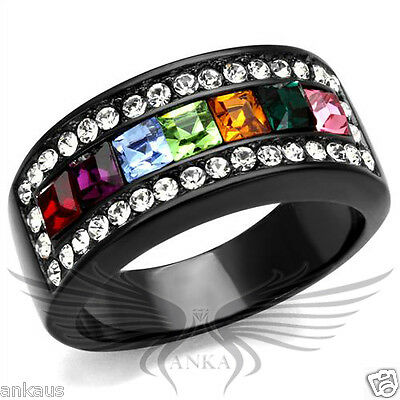 Rainbow Top Grade Crystal Cocktail Black IP Fashion Ring 5 6 7 8 9 10 TK1402J
