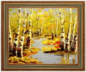 Painting Forest Landscape, Birch in Water, Hand Painted format: CA 38x33cm