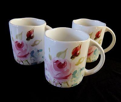 222 FIFTH Floral Fete Mugs Flat Cups Lilac Rose Olive Set of 3 Scallop Rim 11oz