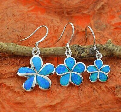 Blue Opal Plumeria Earrings,Fire Opal,Flower,Hawaiian,Hook,Dangle,Birthday Gift