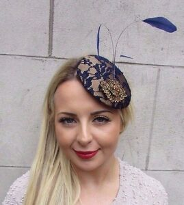 Image is loading Navy-Blue-Bronze-Gold-Feather-Fascinator-Pillbox-Hat- cadefac8a74