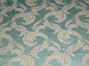Vtg-1940s-Jacquard-Drapery-Fabric-Aqua-Blue-Off-White-Leaves-Motif-45-034-x-2-Yds