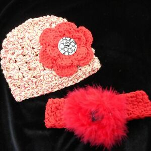 Lot-of-Baby-Girl-Headband-and-Hat-Knit-Newborn-Red-Feathery-Flower-Button