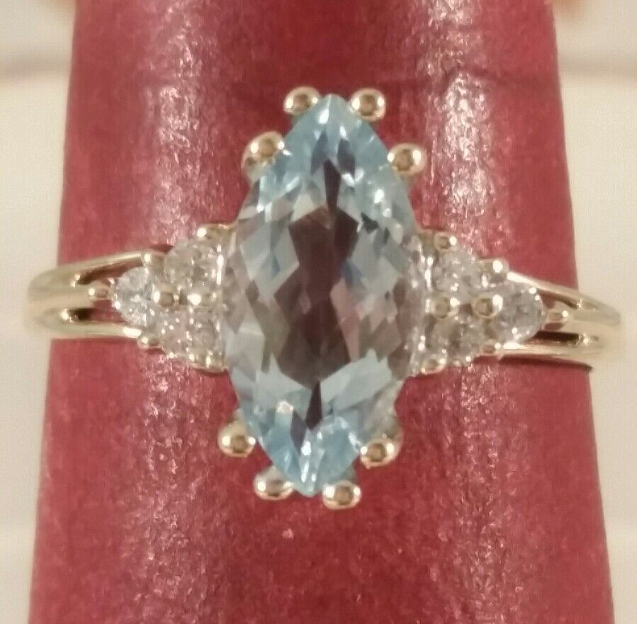 10K Yellow gold Sky bluee Topaz & Diamond Ring FREE SIZING