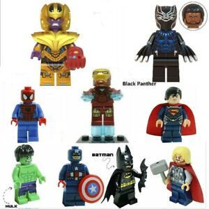 UK-Super-Heroes-Minifigures-Custom-Marvel-THANOS-Black-Panther-Spideman-Hulk