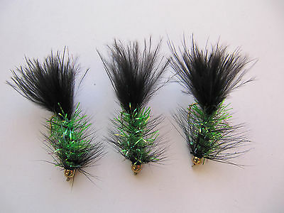 3 X OLIVE TADPOLE LONG-SHANK LURES  sizes 10 12  available