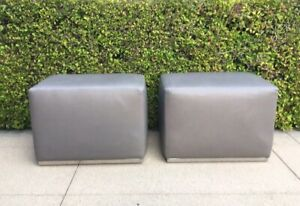 Miraculous Details About Rh Modern Restoration Hardware Rex Leather Ottoman Set Of 2 Pdpeps Interior Chair Design Pdpepsorg