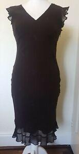 Laura-Ashley-Seda-Bordado-Floral-Marron-Chocolate-Forrado-Vestido-Talla-12