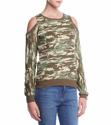 Women/'s Sequin Swag Bitten Lips Juniors Fatigue Camo Raglan T-Shirt NWT