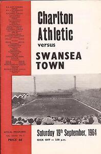 Football-Programme-Charlton-Athletic-v-Swansea-Div-2-19-9-1964