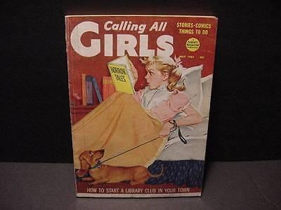 CALLING ALL GIRLS Vintage Magazine May 1961 w/DACHSHUND+Girl-Late Night Reading