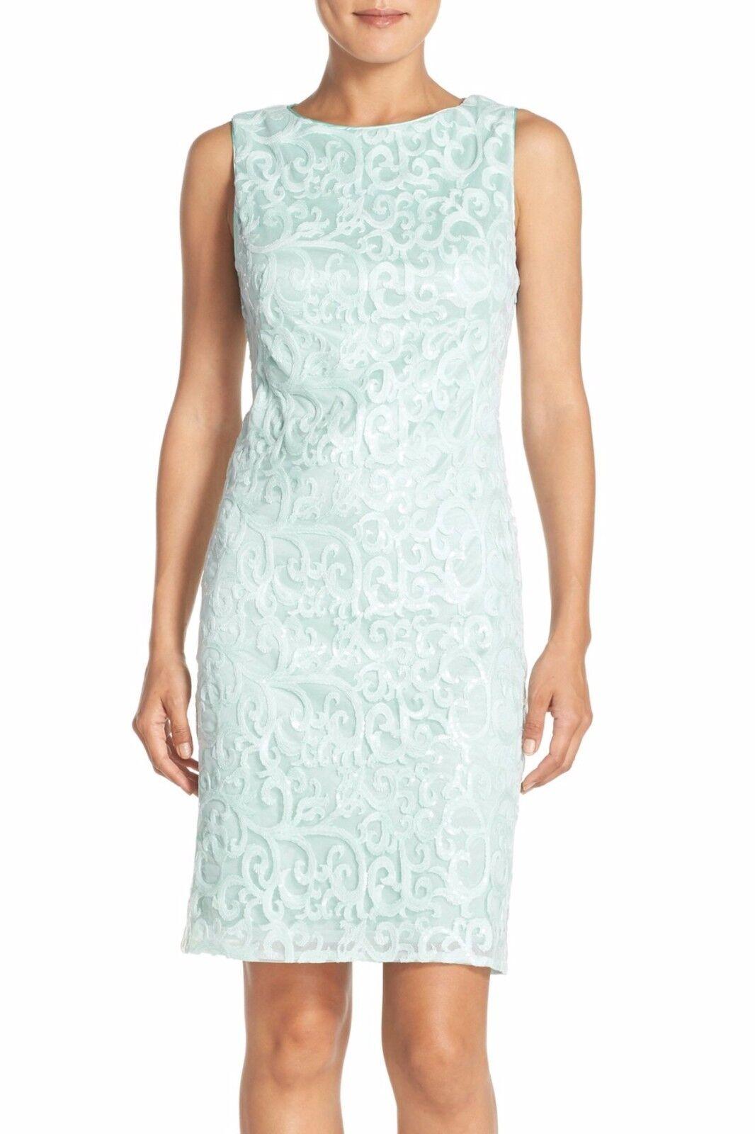 NWT  Sue Wong Embroidered Mesh Sheath Dress Sky bluee {SZ 4 ]  N540
