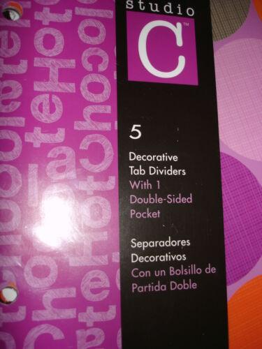 STUDIO C 5 DECORATIVE TAB DIVIDERS  HOT CHOCOLATE LOT OF 2