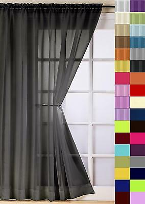 Plain Voile Curtain Panel Rod Pocket Net Slot Top FREE 1ST CLASS POST 38 COLOURS