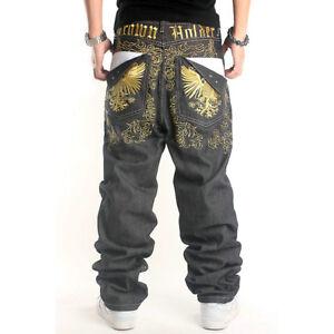 Hombre-Hip-Pantalones-Vaqueros-De-Salto-Eagles-Bordado-Vaquero-Negro-Hip-Hop