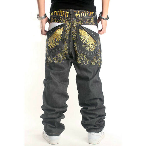Hombre Hip Pantalones Vaqueros De Salto Eagles Bordado Vaquero Negro Hip Hop