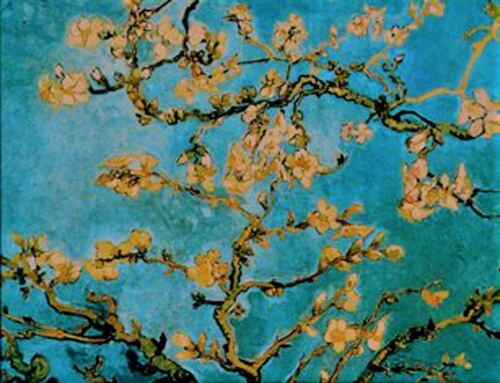 """VAN GOGH/'S /""""ALMOND BLOSSOMS/"""" Stained Glass Panel Suncatcher by Glassmasters"""