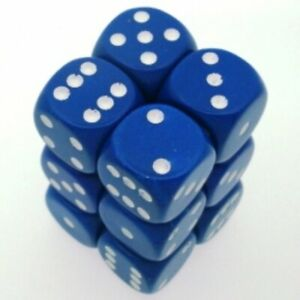 12-d6-says-Set-Chessex-Opaque-Blue-White-25606-Dice-Matte-Blue-White