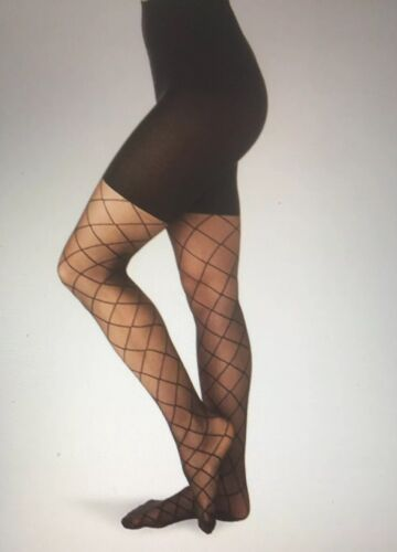 Spanx NWT Super High Shaping Sheers Black Diamond Design Pantyhose New Size D