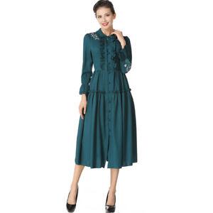 9a1c5eccc28b Detalles de Élégant vestido vestido mujer verde largo columpio slim suave  4182