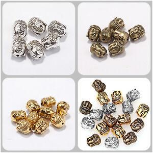 20pcs-10x8mm-Perles-de-Tete-de-Bouddha-Tibetan-Argente-Pour-Bijoux-Bracelet