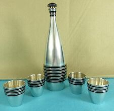 SOVIETICO RUSSO Argento Sterling Nero Smalto Vodka Decanter & 4 TAZZE ca 1930