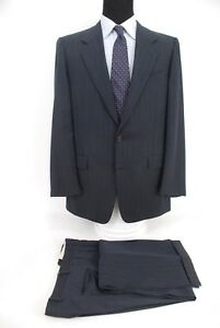 Hickey-Freeman-2Btn-Navy-Blue-Herringbone-Stripe-Suit-100-Wool-Men-s-42L