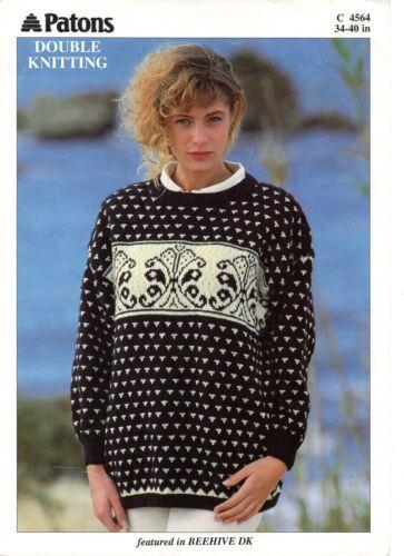 "Patons 4564 Vintage Ladies Knitting Pattern Sweater DK 34-40/"" 1980s Repro"