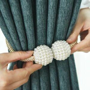 Curtain-Pearl-Magnetic-Clips-Tie-Buckle-Ball-Backs-Tiebacks-Holder-1pcs-Window-H