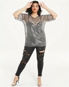 Image is loading SIMPLY-BE-Plus-Size-Metallic-Mesh-T-Shirt- ffbe59e2f