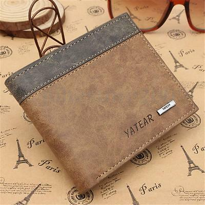 Men's Genuine Vintage Leather Brown Short Wallet Card Holder Coin Pocket Gift